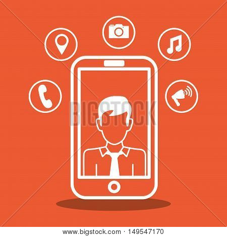 Social network cellphone isolated icon global around