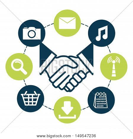 Social network global around person icon hands
