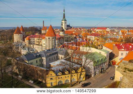 Tallinn Estonia. Old town skyline of Toompea Hill.