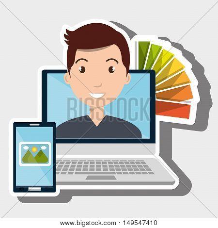 man computer smartphone chart color vector illustration eps 10