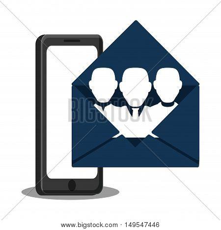 Social network cellphone open message person icon