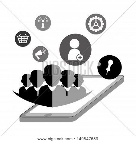 Social network shadow person people connected online