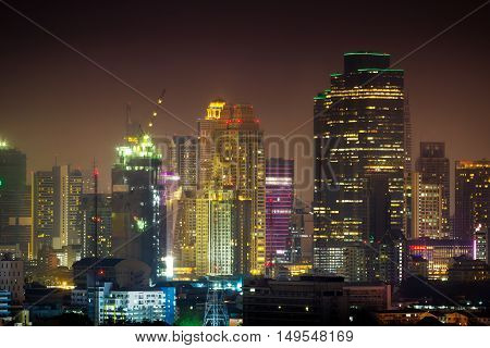 Bangkok cityscape View high building in the business district at night Bangkok Thailand