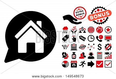 House Mention icon with bonus images. Glyph illustration style is flat iconic bicolor symbols, intensive red and black colors, white background.