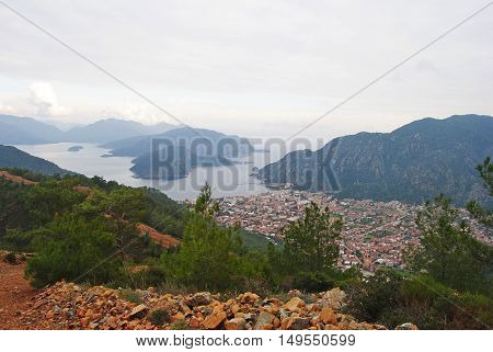 View from the heights over Icmeler suburb of Marmaris, Turkey.