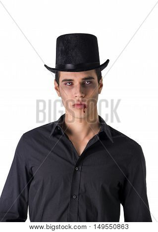 Portrait of a Young Vampire Man with High Hat and Black T-Shirt, Looking at the Camera, Isolated on White Background.