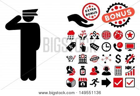 Police Officer pictograph with bonus elements. Glyph illustration style is flat iconic bicolor symbols, intensive red and black colors, white background.