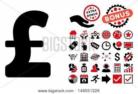 Pound Sterling icon with bonus icon set. Glyph illustration style is flat iconic bicolor symbols, intensive red and black colors, white background.