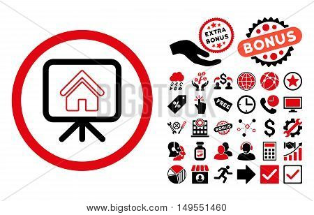 Project Slideshow pictograph with bonus pictograph collection. Glyph illustration style is flat iconic bicolor symbols, intensive red and black colors, white background.
