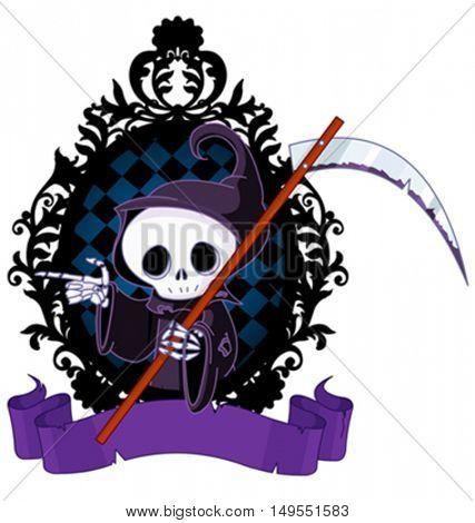 Cute cartoon grim reaper with scythe pointing
