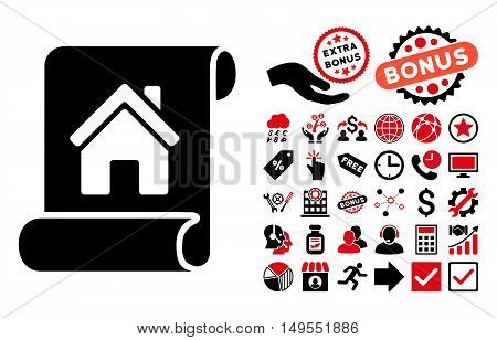Realty Description Roll icon with bonus pictograph collection. Glyph illustration style is flat iconic bicolor symbols, intensive red and black colors, white background.