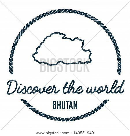 Bhutan Map Outline. Vintage Discover The World Rubber Stamp With Bhutan Map. Hipster Style Nautical