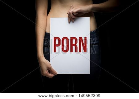 Woman with porn sign with a dark background poster