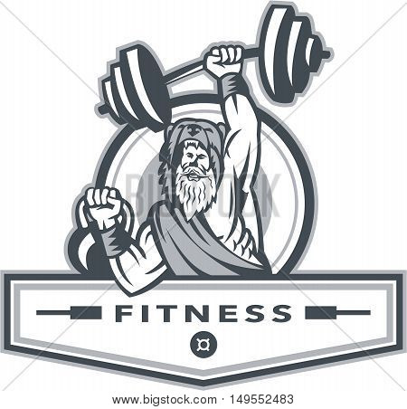 Illustration of a berserker a champion Norse warrior wearing pelt of bear skin lifting barbell and kettlebell viewed from front set inside circle with the word text Fitness inside banner done in retro style.
