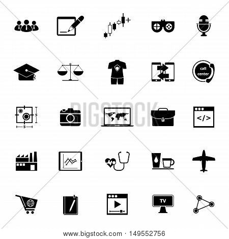 Online working icons on white background stock vector