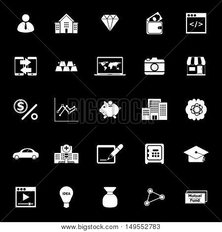 Passive income icons on black background stock vector
