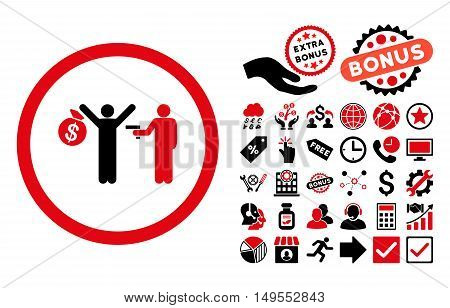 Robbery pictograph with bonus symbols. Glyph illustration style is flat iconic bicolor symbols, intensive red and black colors, white background.