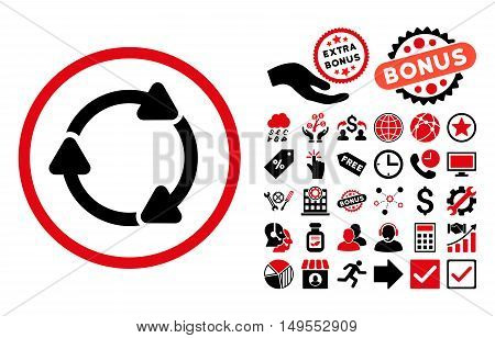 Rotate CW pictograph with bonus design elements. Glyph illustration style is flat iconic bicolor symbols, intensive red and black colors, white background. poster