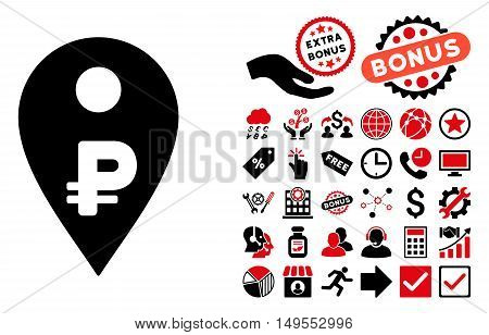 Rouble Map Marker pictograph with bonus symbols. Glyph illustration style is flat iconic bicolor symbols, intensive red and black colors, white background.