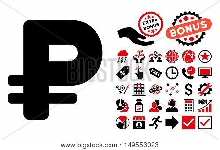 Rouble icon with bonus pictures. Glyph illustration style is flat iconic bicolor symbols, intensive red and black colors, white background.