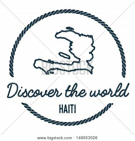 Haiti Map Outline. Vintage Discover The World Rubber Stamp With Haiti Map. Hipster Style Nautical Ru