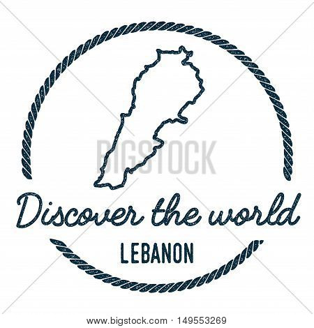 Lebanon Map Outline. Vintage Discover The World Rubber Stamp With Lebanon Map. Hipster Style Nautica