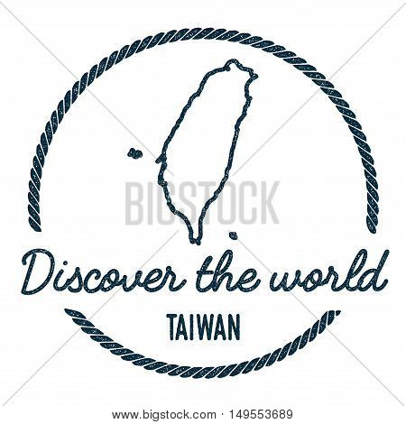Taiwan, Republic Of China Map Outline.. Vintage Discover The World Rubber Stamp With Taiwan, Republi