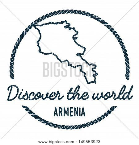 Armenia Map Outline. Vintage Discover The World Rubber Stamp With Armenia Map. Hipster Style Nautica