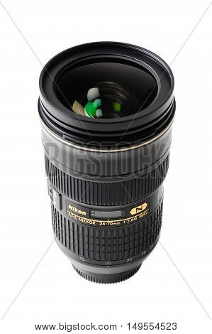 BANGKOK THAILAND - MAY 13 2015: The Nikon 24-70mm f/2.8G ED AF-S lens. This lens was announced in 2007 by Nikon in Japan.
