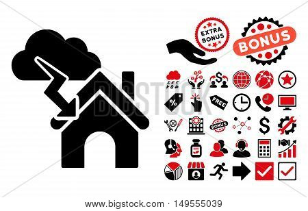 Storm Building pictograph with bonus images. Glyph illustration style is flat iconic bicolor symbols, intensive red and black colors, white background.
