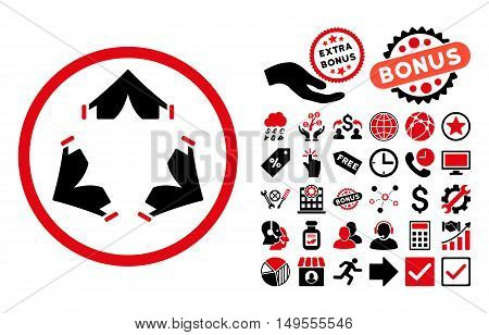 Tent Camp pictograph with bonus symbols. Glyph illustration style is flat iconic bicolor symbols, intensive red and black colors, white background.