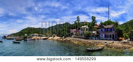 Cu Lao Cham, Quang Nam, Vietnam - July 16, 2012: People are working on the island