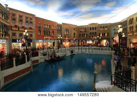 MACAU - FEBRUARY 08 2016 - The Venetian Macao. The Venetian Macao is the largest casino in the world and the largest single structure hotel building in Asia.