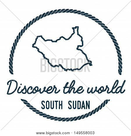 South Sudan Map Outline. Vintage Discover The World Rubber Stamp With South Sudan Map. Hipster Style
