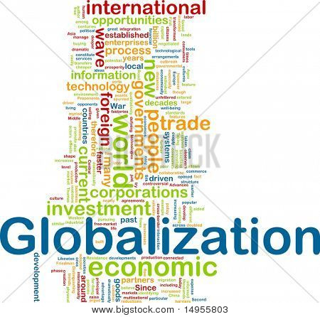 Word cloud tags concept illustration of globalization