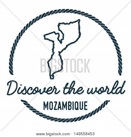 Mozambique Map Outline. Vintage Discover The World Rubber Stamp With Mozambique Map. Hipster Style N
