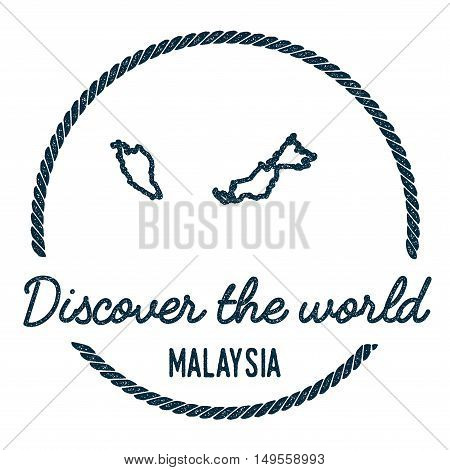 Malaysia Map Outline. Vintage Discover The World Rubber Stamp With Malaysia Map. Hipster Style Nauti