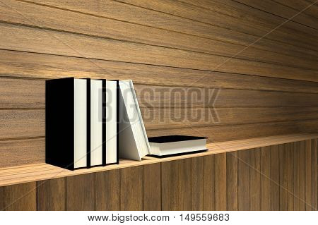 3D Rendering : illustration of book on wooden shelf or wooden bar against wooden wall