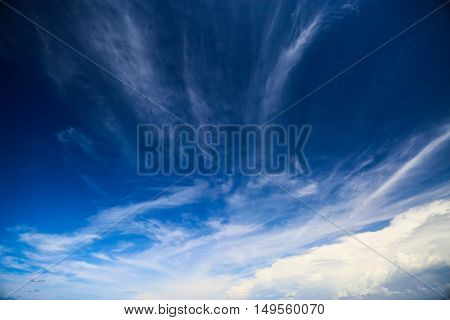 Blue sky with cloud and empty area for text, Nature concept for presentation background, Beautiful colorful sky with sunlight and concept fresh air for health, Healthy concept in fresh atmosphere.