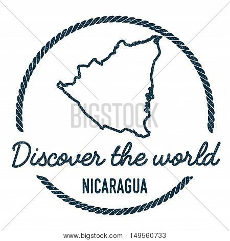 Nicaragua Map Outline. Vintage Discover The World Rubber Stamp With Nicaragua Map. Hipster Style Nau