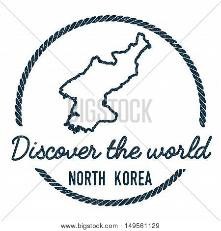 Korea, Democratic People's Republic Of Map Outline... Vintage Discover The World Rubber Stamp With K