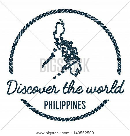 Philippines Map Outline. Vintage Discover The World Rubber Stamp With Philippines Map. Hipster Style