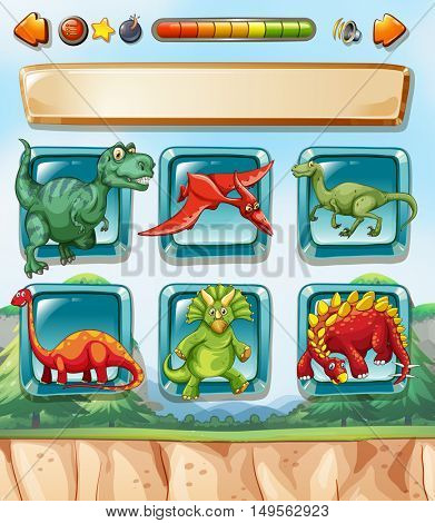 Computer game template with dinosaurs background illustration
