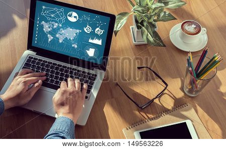 IOT man hand on table Business coffee Split tone poster