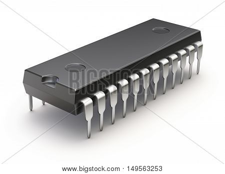 Electronic integrated chip (microchip or microcircuit) on white background - 3D illustration