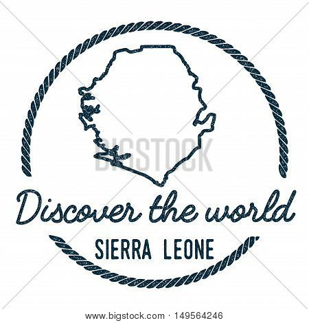 Sierra Leone Map Outline. Vintage Discover The World Rubber Stamp With Sierra Leone Map. Hipster Sty
