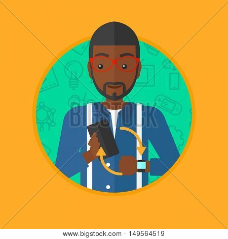 An african-american man holding a smartphone and looking at his smart watch. Synchronization between smartwatch and smartphone. Vector flat design illustration in the circle isolated on background.