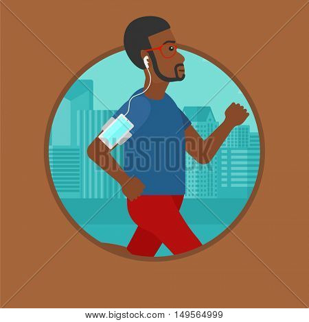 An african-american man running with earphones and armband for smartphone. Man listening to music during running in the city. Vector flat design illustration in the circle isolated on background.