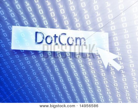 Dotcom button with clicking mouse icon, digital background