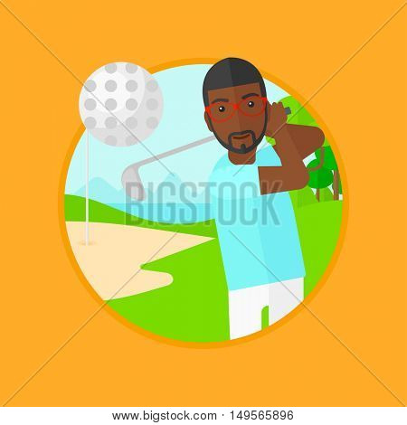 An african-american golfer hitting the ball. Professional golfer on golf course. Young man playing golf. Vector flat design illustration in the circle isolated on background.